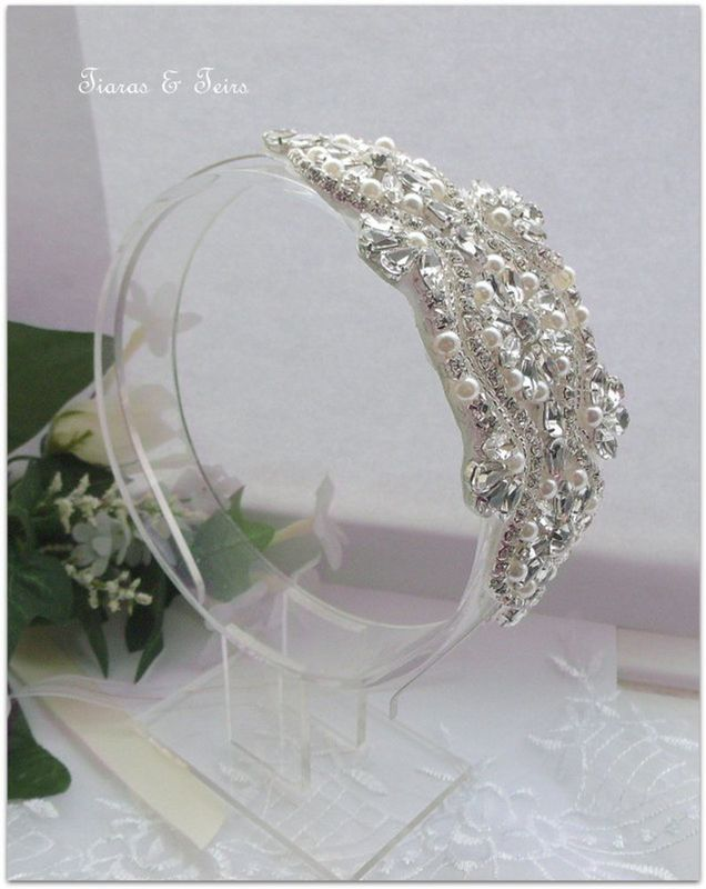 Vintage rhinestone wedding side headband - product images  of