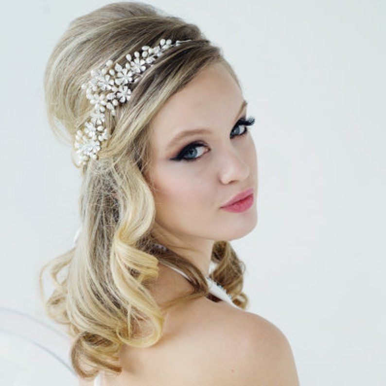 Boho chic freshwater pearl and flower wedding hair vine  - product images  of