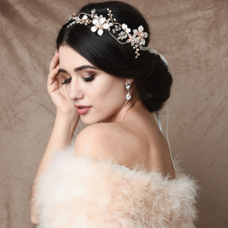 Floral crystal and pearl wedding hair vine  - product images  of