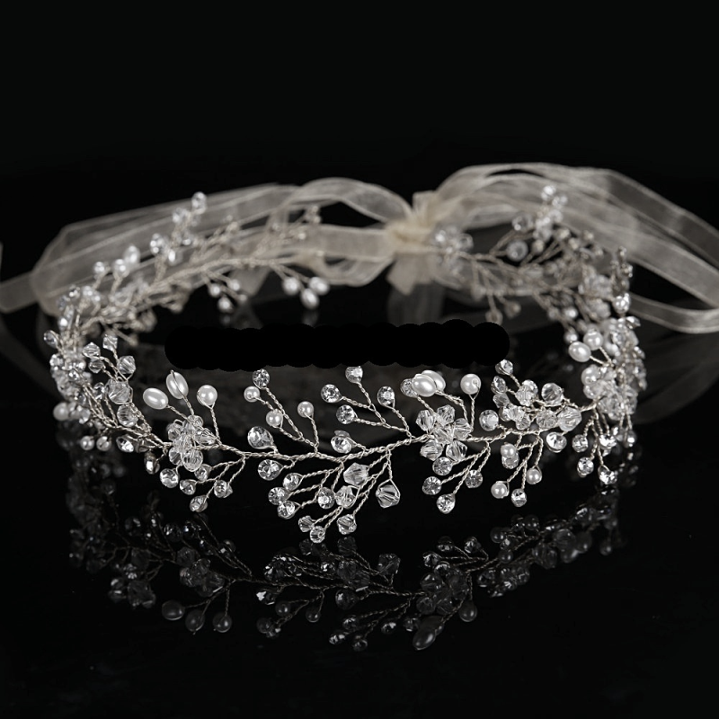 Crystal and pearl wedding hair vine  - product images  of