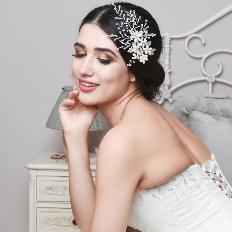 Vintage pearl and crystal wedding headpiece - product images  of