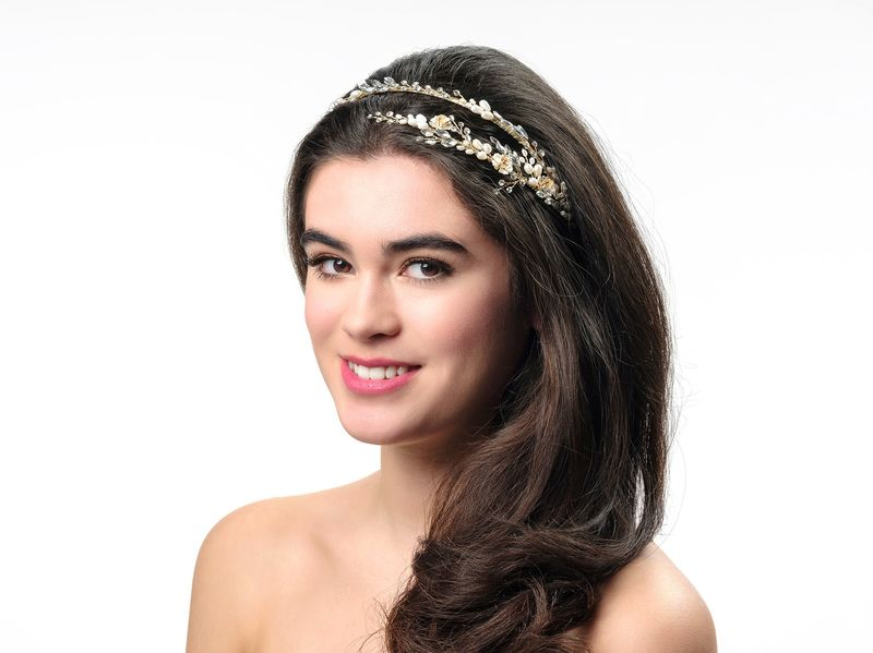 Pearl and crystal floral gold wedding headband - product images  of
