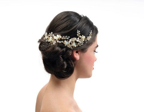 Gold,floral,wedding,hair,vine,gold wedding hair vine, bridal hair vine, gold floral hair vine, hair vines uk, gold wedding hair accessories, accessories for weddings, gold accessories for brides, hair vines for brides, Poirier wedding hair vine, hair pieces for weddings, bridal hair j