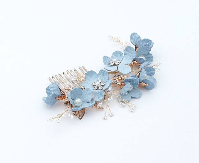 Blue flower and gold wedding hair comb - product images  of