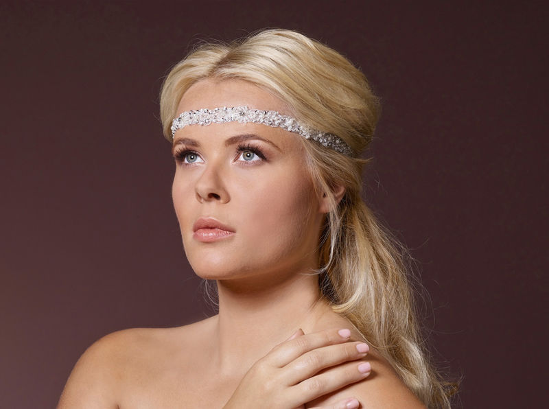 Boho chic beaded pearl elasticated wedding headband  - product images  of