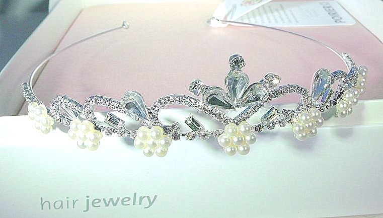 Crystal and pearl wedding tiara - product images  of