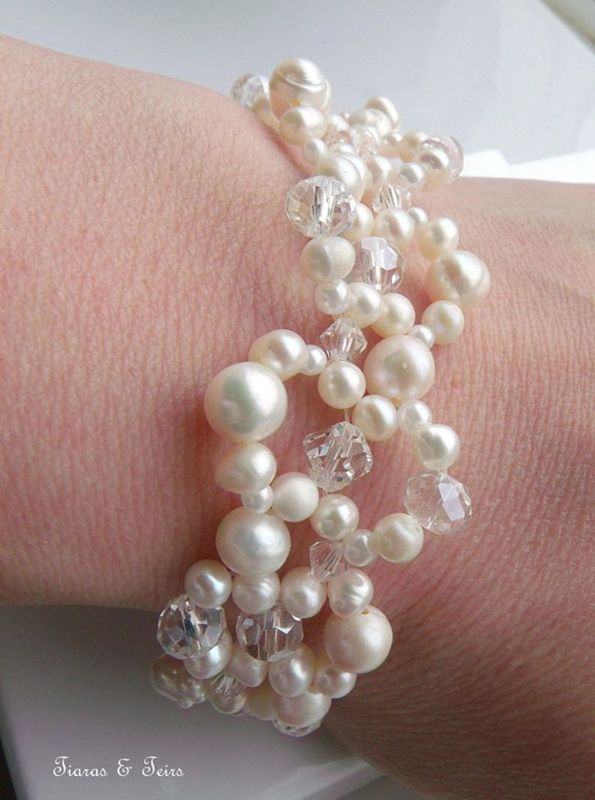 Fresh water ivory pearl and swarovski crystal wedding bracelet - product images  of