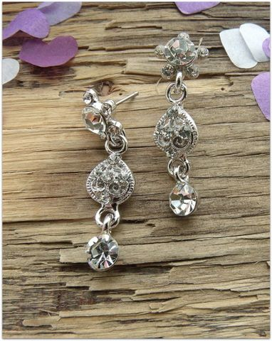 vintage,floral,silver,a,cubic,zirconia,wedding,earrings,vintage cubic zirconia wedding earrings, silver wedding earrings, wedding earrings, ornate earrings, vintage earrings for brides, vinateg wedding jewellery, silver bridal earrings, bridal jewellery, stud drop earrings, wedding jewellery