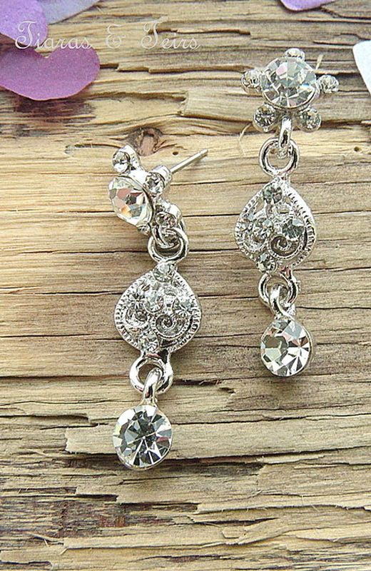 vintage floral silver a cubic zirconia wedding earrings - product images  of