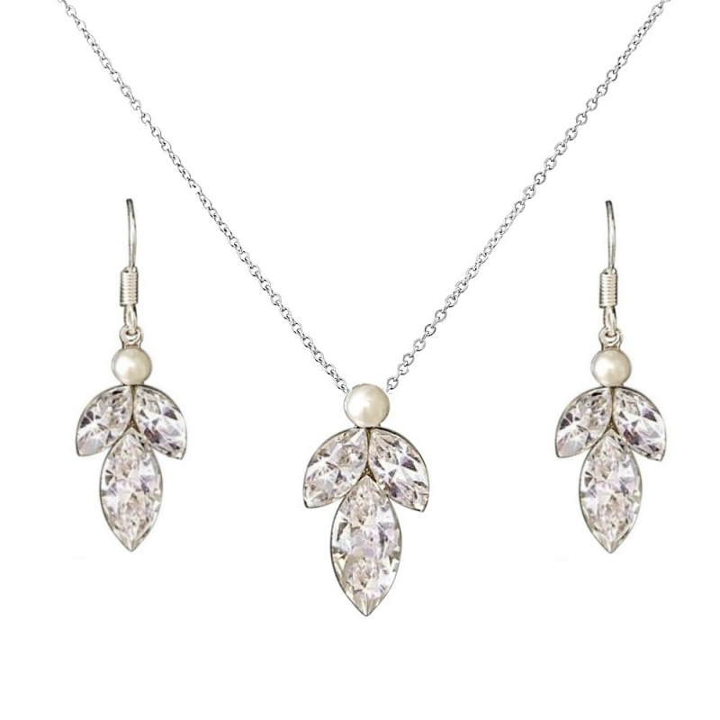 Dainty leaf drop wedding jewellery set - product images  of