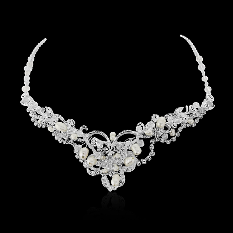 Freshwater pearl and crystal wedding necklace  - product images  of