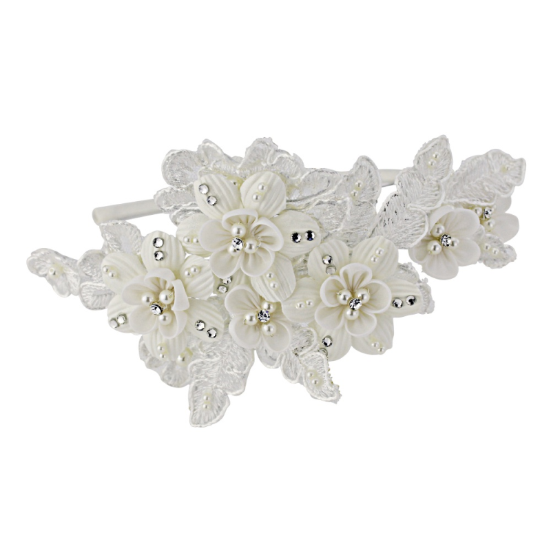 Vintage floral lace and pearl wedding side headband - product images  of