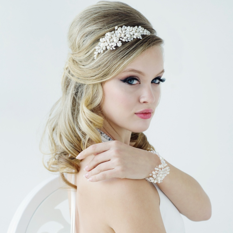 Vintage freshwater pearl wedding side headband - product images  of