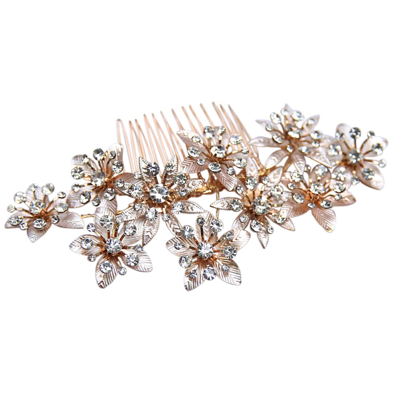 Gold and blush pink floral wedding hair comb - product images  of