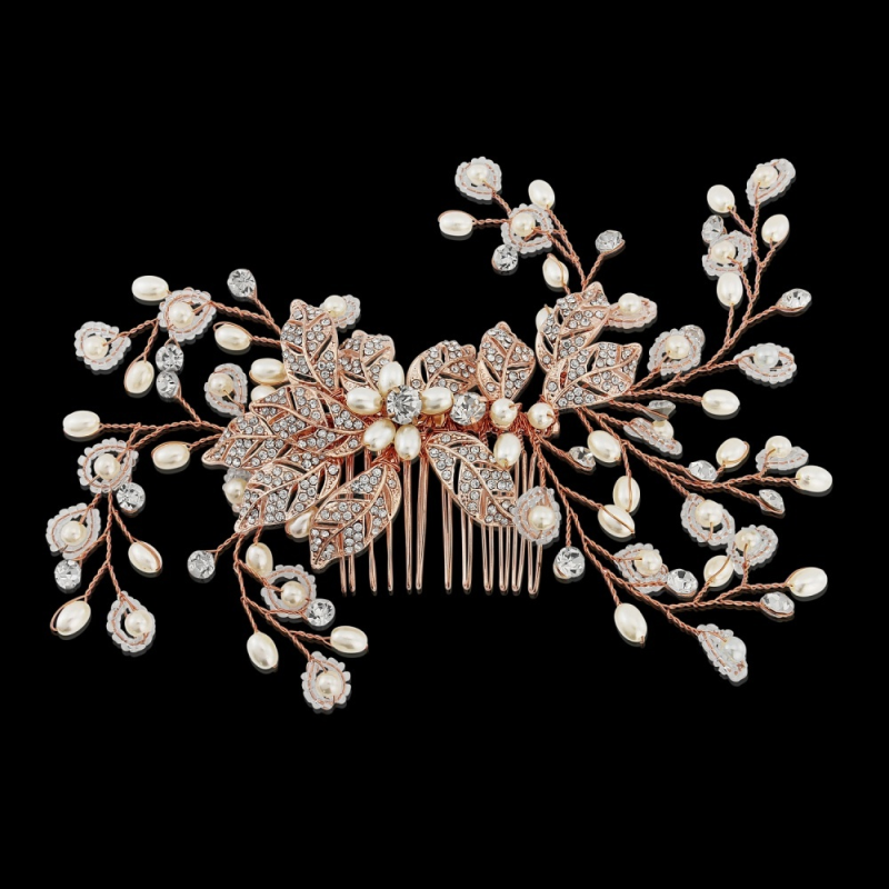 Rose gold, pearl and diamante wedding hair comb - product images  of