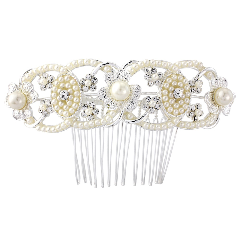 Ornate pearl vintage wedding hair comb - product images  of