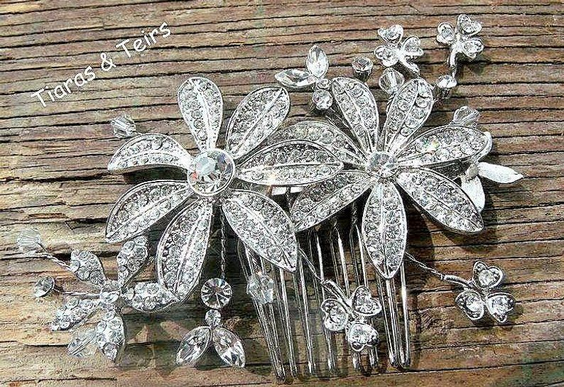 Vintage large flower wedding hair comb - product images