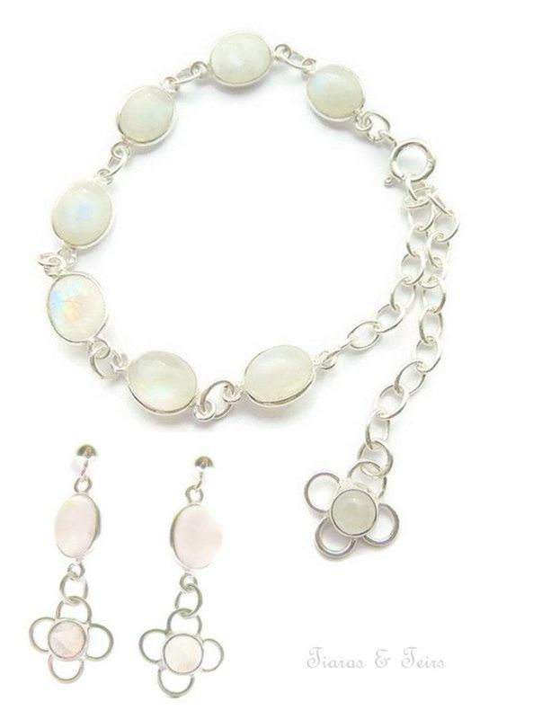 Rainbow moonstone bridal jewellery set - product images  of
