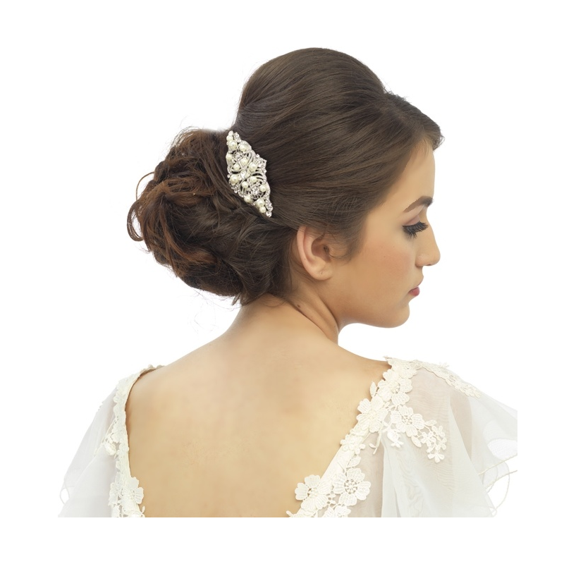 Regal pearl silver wedding hair comb  - product images  of