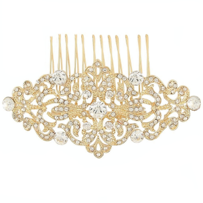Gold vintage crystal wedding hair comb - product images