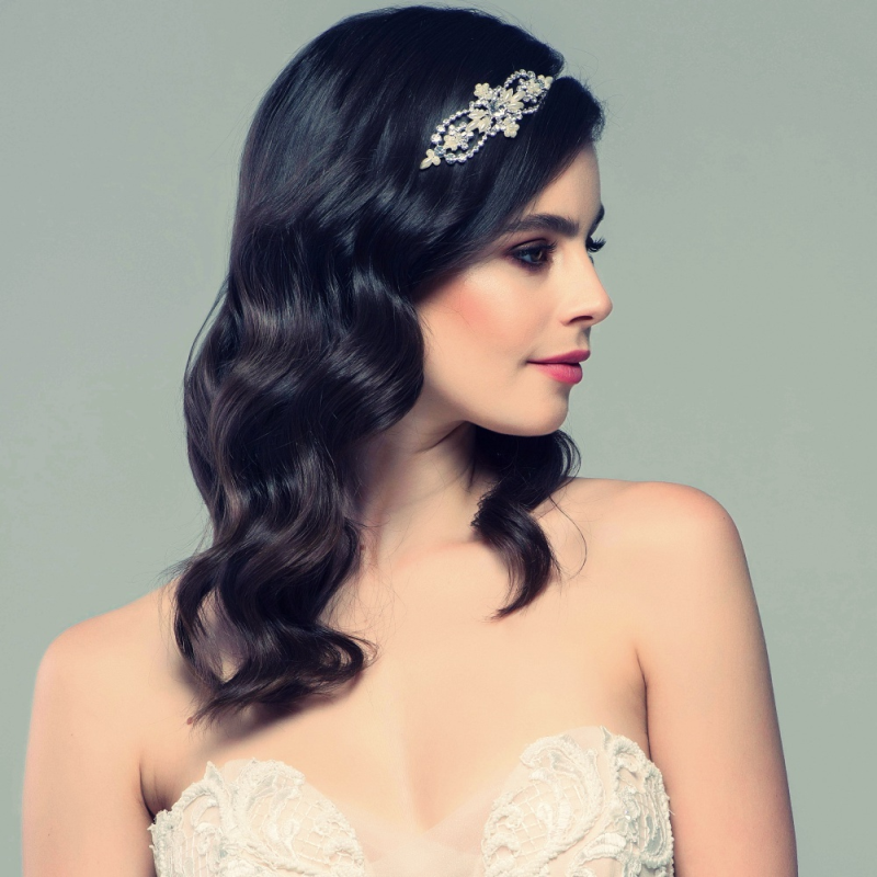Chic pearl wedding side headband - product images  of