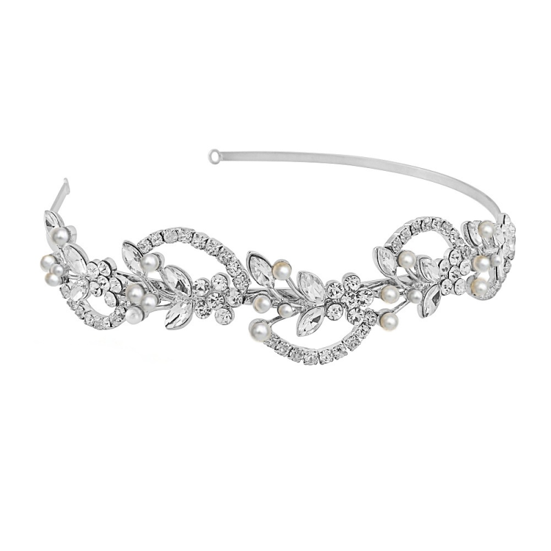 Vintage chic silver wedding headband  - product images