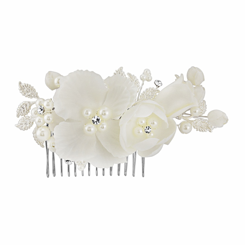 Ivory silk floral wedding hair comb - product images