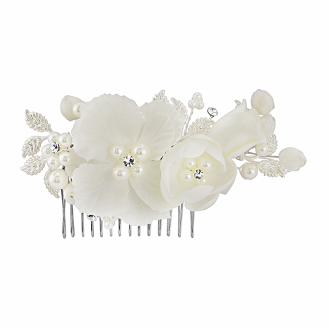 Ivory,silk,floral,wedding,hair,comb,ivory silk flower wedding hair comb, ivory flower wedding hair comb, wedding hair comb with silk flowers, ivory flower bridal hair comb, wedding hair comb uk, fower and pearl wedding hair comb, ivory wedding hair accessories, flower hair comb for brides,
