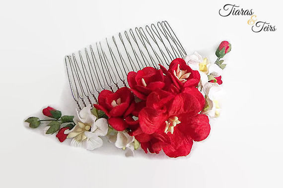 Red and ivory floral wedding hair comb - product images  of