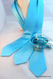 Robin egg blue plain satin wedding ties  - product images  of