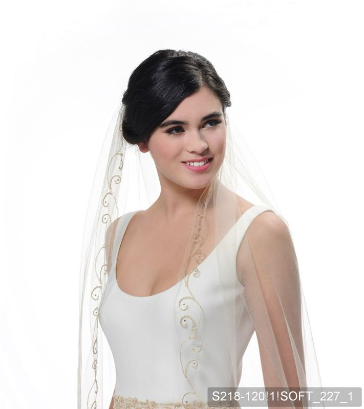 Gold and champagne coloured embroidered edge single layer wedding veil - product images  of
