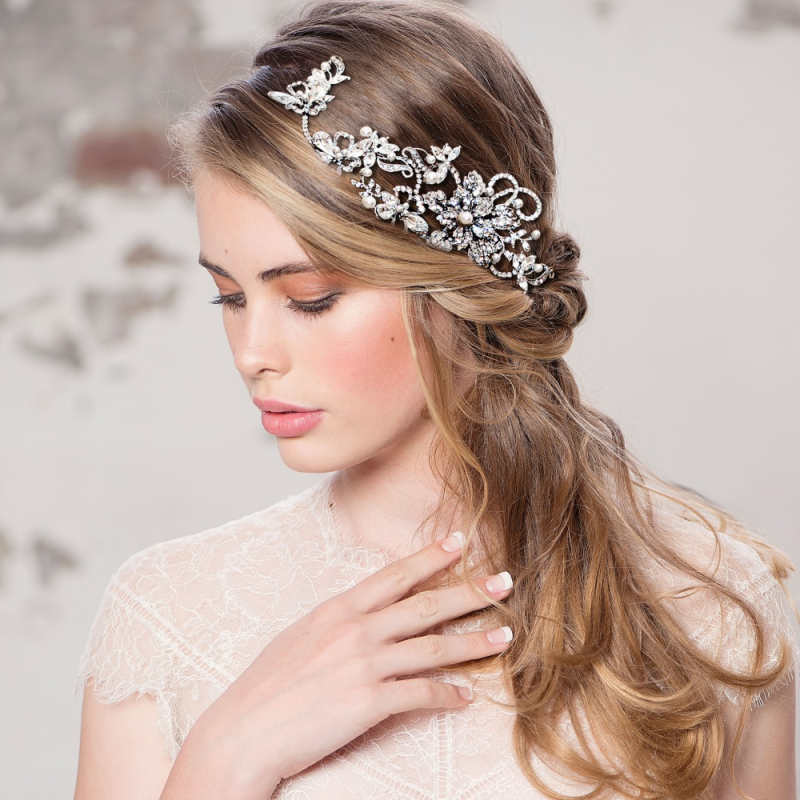 Vintage cubic zirconia silver wedding headpiece - product images  of