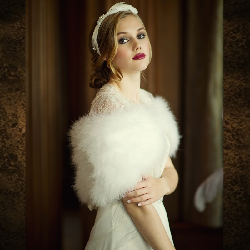 Vintage inspired marabou feather wedding stole - product images  of
