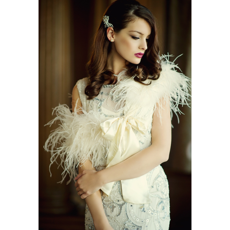 Ostirch feather wedding stole - product images  of