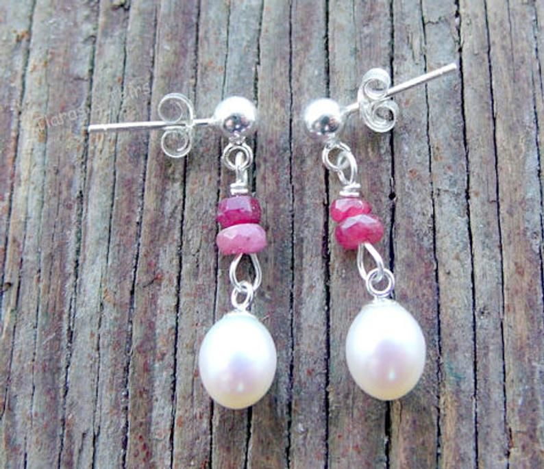 Freshwater pearl and african ruby gemstone sterling silver wedding earrings - product images