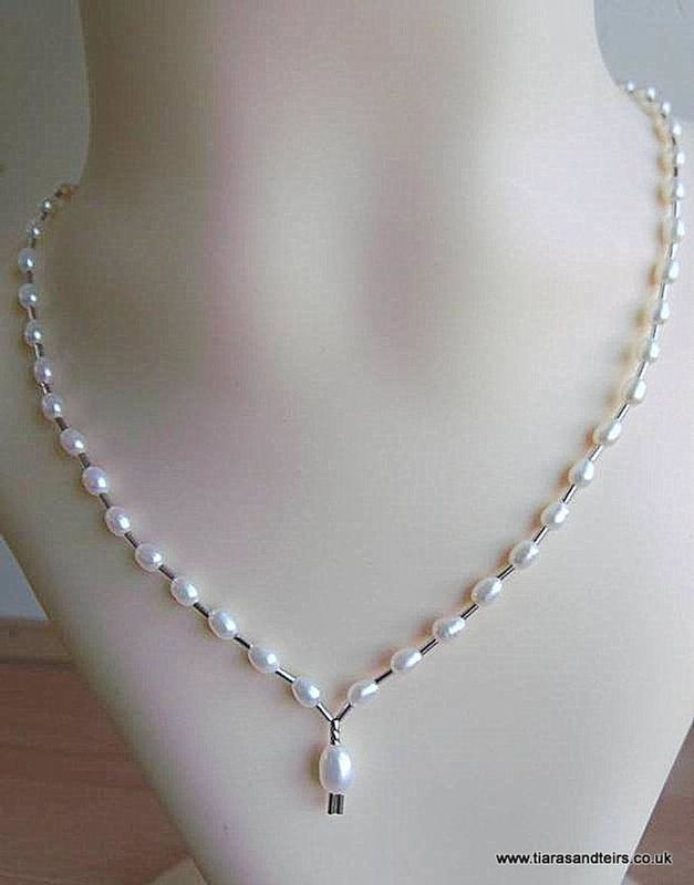 Classic white river water pearl beaded wedding necklace finished with sterling silver - product images  of