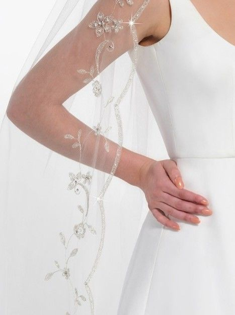 Embroidered scalloped edge single layered cathedral length ivory wedding veil - product images  of