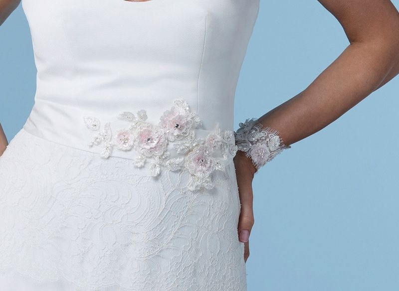 Floral lace vintage style wedding dress belt - product images  of