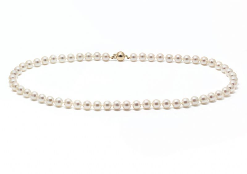 Cultured Akoya pearl wedding necklace with a 9ct yellow gold ball clasp - product images