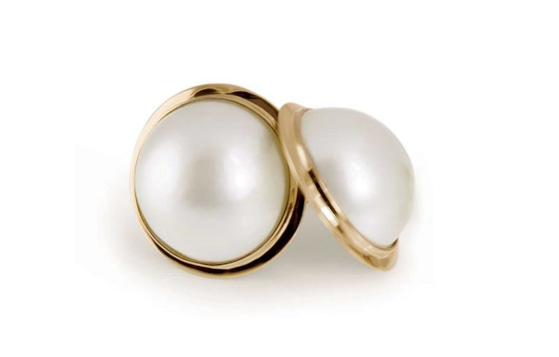 Mabe pearl sterling silver stud wedding earrings - product images  of