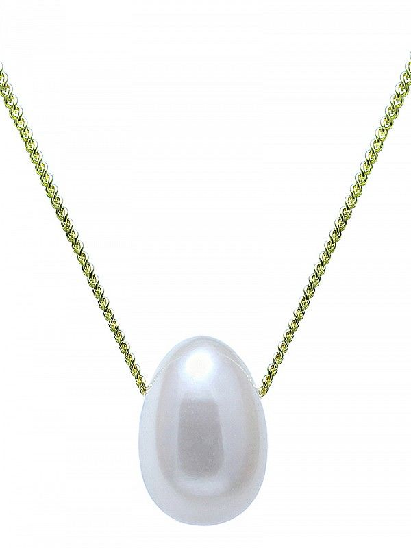 Freshwater tear drop pearl slider chain wedding necklace - product images  of