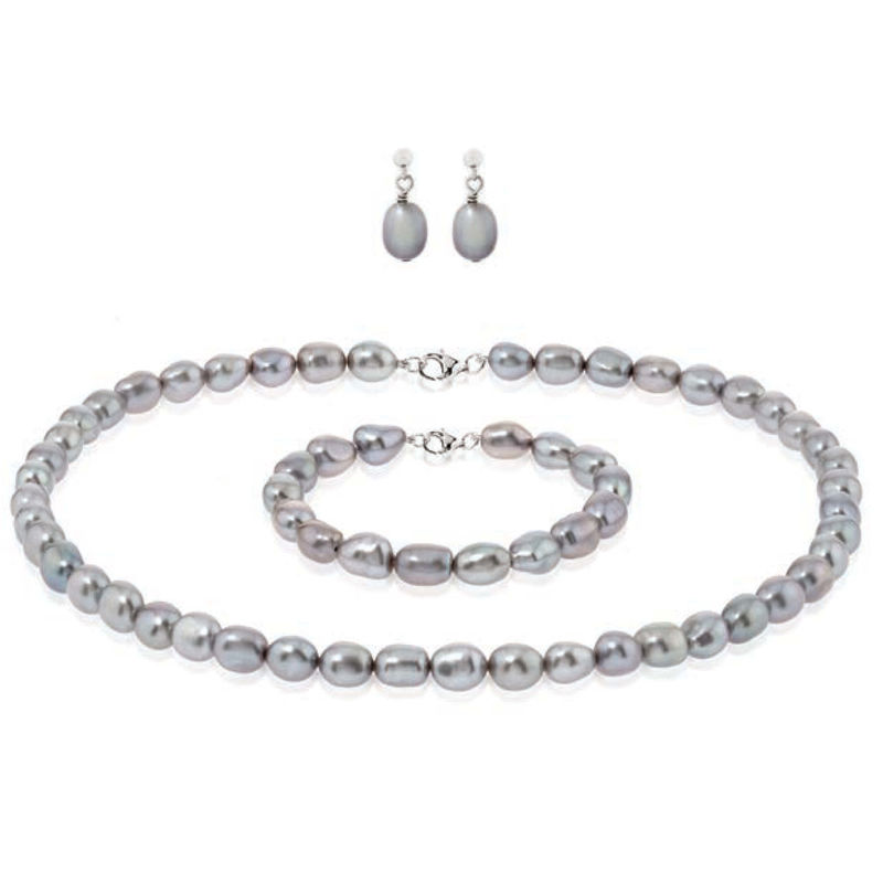 River water cultured pearl classic necklace earring and bracelet wedding jewellery set - product images  of