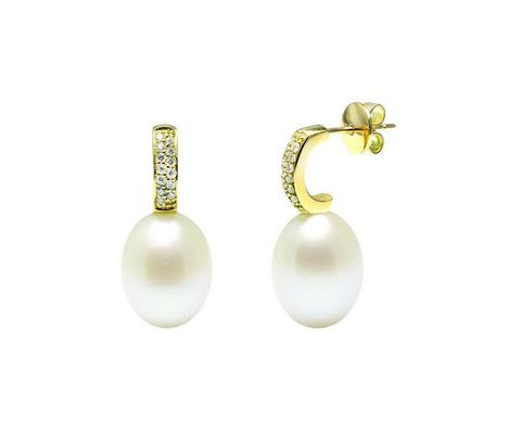 Paved,diamond,set,pearl,18,ct,gold,wedding,earrings,Diamond earrings, wedding earrings, diamond and pearl wedding earrings, wedding jewellery