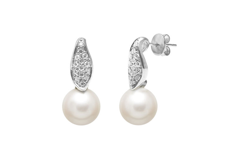 Diamond paved set 18ct gold round pearl drop wedding earrings  - product images  of