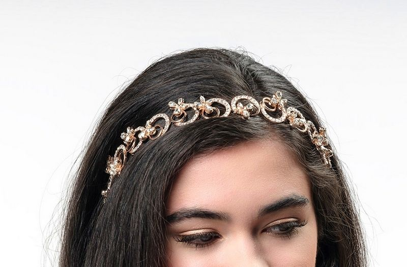 Intricate floral rose gold and crystal bridal headband - product images  of
