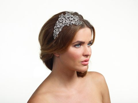 Crystal,floral,silver,side,wedding,tiara,Crystal floral silver side wedding tiara, crystal wedding tiara, wedding headband in floral design, silver wedding headband, bridal headband by Poirier, wedding head pieces, wedding side headband, crystal floral wedding side tiara, wedding hair accessorie