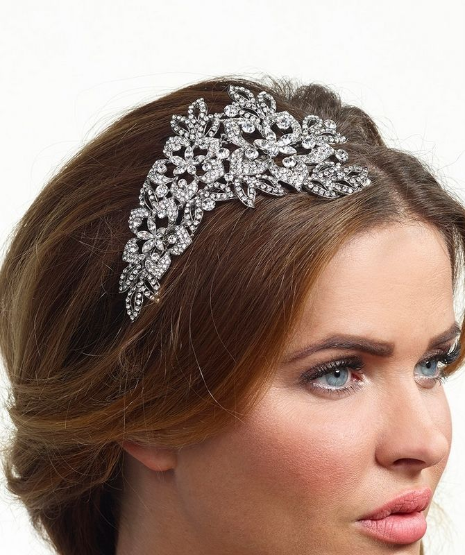 Crystal floral silver side wedding tiara - product images  of