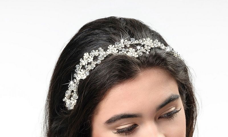 Silver tiny floral and crystal wedding hair band - product images  of