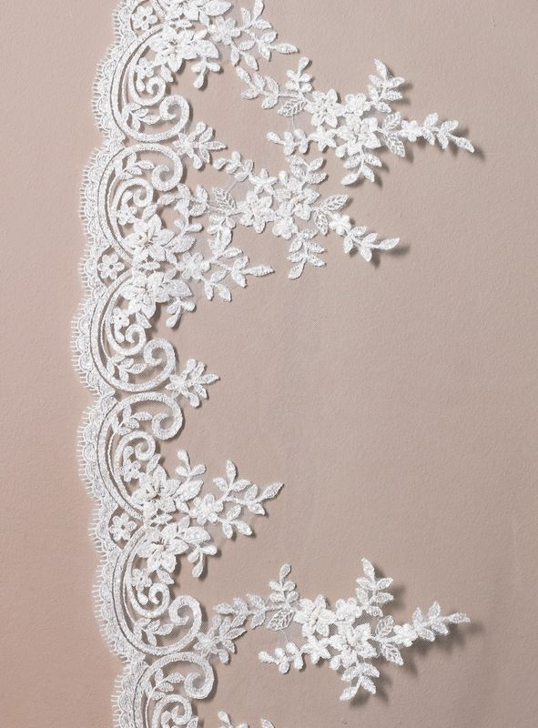 Cathedral length single layered half italian lace scalloped edge wedding veil - product images  of