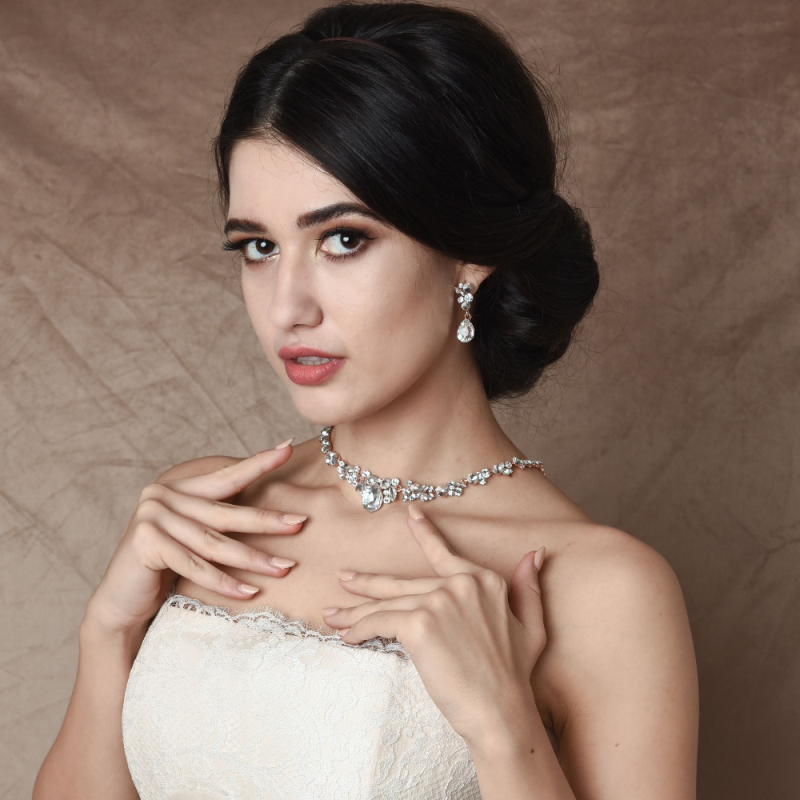 Crystal wedding necklace and earring wedding jewellery set - product images  of